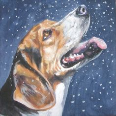 Beagle art print CANVAS print of LA Shepard by TheDogLover on Etsy, $39.99