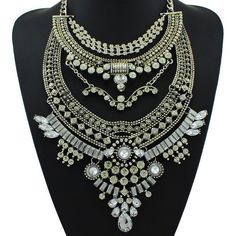 Tribal Crystal Detail Collar Statement Necklace