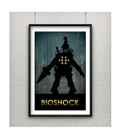 Bioshock Poster, Minimalist 11x17 Silhouette Art Bioshock Poster, Bioshock Big Daddy, Bioshock Little Sister, Bioshock Video Game Poster