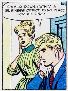 """Comic Boys Say.. """"Simmer down Cathy ! A busnisse office is no place for kissing""""  .#Vintage #Comic #Pop Art"""