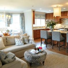 open concept kitchen living room - love ottoman