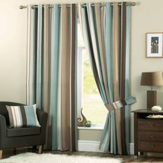 Curtains living room - The living room curtains are a very important decorative detail for the interior. The modern living room curtains. Ready Made Eyelet Curtains, Striped Curtains, Blue Curtains, Lined Curtains, Window Curtains, Modern Curtains, Blue And Brown Curtains, Cream Curtains, Curtain Panels