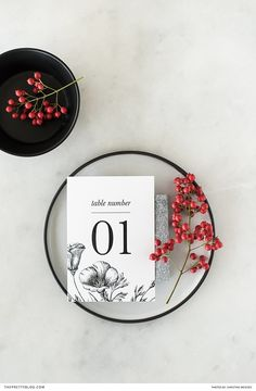 Bold table numbers with black flower illustrations |  Styling: AnnaH…