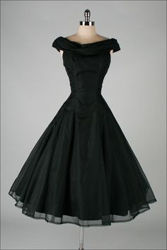 Vintage 1950s black organza dress by SUZY PERETTE