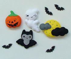 Halloween home decor, Halloween Magnets, Scary felt ornament, Fridge magnets, set of 4 Halloween ornament, Halloween decor