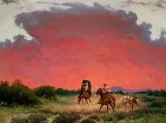 In a Storm The title of this painting is a common term used among cowboys to describe a difficult situation. As depicted here, cowboy Ben Fa...