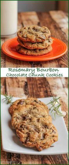 Rosemary Bourbon Chocolate Chunk Cookies with Smoked Sea Salt and Pecans