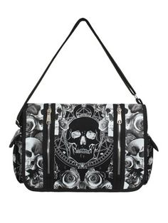 Be the coolest kid on the block with this eye-popping skull and roses print 'Mica' messenger bag from Banned! With plenty of interior and exterior pockets it is the perfect Gothic accessory to cart your daily essentials about in.