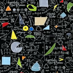 Samarra Khaja - Back to School - Math in Black    Can't help but thought of Elaine and Lyndon Jee when I saw this fabric!