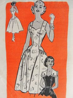 Unique party  or sun dress with button on cape like collar Mail Order pattern 4722  http://www.sovintagepatterns.com/1950s-Bombshell-Cocktail-Party-Evening-Dress-Pattern-Sweetheart-Neckline-Fitted-Elongated-BodiceLow-Strappy-Back-Button-On-Collar-Capelet-Bust-34-FACTORY-FOLDED_p_5531.html