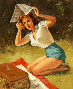 Where is a man with an umbrella when you need one? ~ Vintage pin-up by Forest Clough.