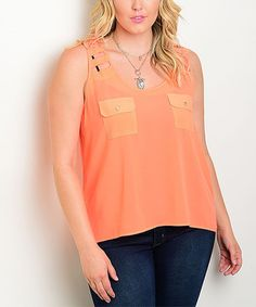 Look at this #zulilyfind! Hot Orange Pocket Cutout Top - Plus #zulilyfinds