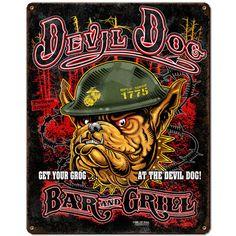 USMC 'Devil Dog Bar & Grill' 7.62 Design Vintage Steel Sign