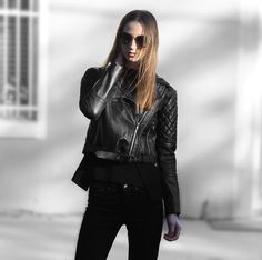 Black quilted lambskin biker jacket - adrienne. From luxe with love