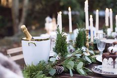 Baby, It's Cold Outside! | Rue | winter wedding table decor | fern white green champagne
