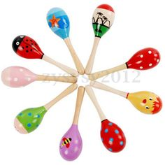 Kids Baby Toddler Wooden Toy Maracas Rumba Shakers Musical Party Rattles Gift