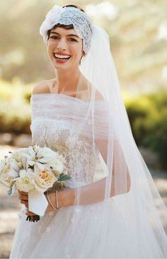 Anne Hathaway - Showing that Short Haired Brides are Beautiful Too! #celebrity #wedding #dress
