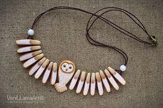 VaniLlamaArt - handmade: Barn Owl necklace