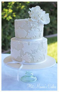 Roses and Lace Wedding - Lace was made with fondant from a mold I made.