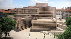 Kengo Kuma & Associates has revealed its design for a modern art museum in a former wood market in Turkey, made up of cluster of volumes clad in slats of timber.