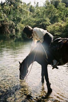 enjoying nature on horseback