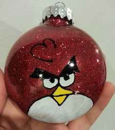 1 Hand Glittered and Painted Angry Bird Ornament. $7.00, via Etsy.