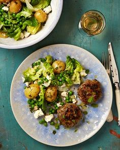 Lamb burgers with minty new potato, feta and pea salad; & Buttermilk and honey cake with honeyed apricots.