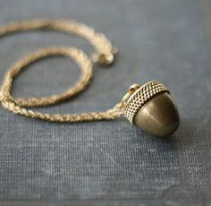 Acorn Canister, Vintage Brass Locket Necklace by Contrary