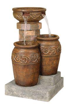 "Tuscan Faux Stone 31 1/2"" High Patio Floor Fountain"