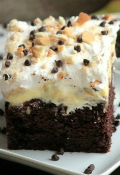 Chocolate Banana Poke Cake