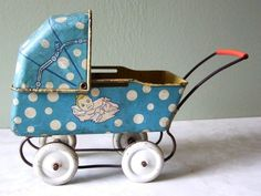 Wyandotte Tin Metal Toy Blue Baby Buggy Carriage Stroller Tamoms |