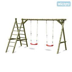 La balançoire double, ci-inclus 2 sièges de balançoire, avec échelles à grimper, transformera votre jardin en un petit paradis à se balancer pour vos enfants.