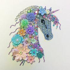 Pastel unicorn Button art