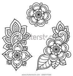 Set of Mehndi flower pattern for Henna drawing and tattoo. Decoration in ethnic oriental, Indian style. Lotus Flower Art, Flower Mandala, Henna Drawings, Doodle Drawings, Flower Pattern Drawing, Flower Patterns, Henna Doodle, Henna Art, Mehndi Flower
