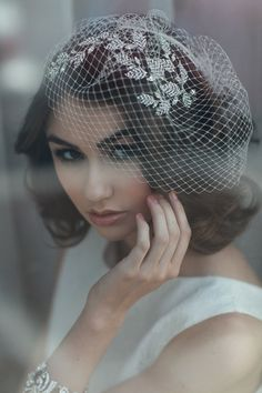 our soft French net bird cage veils with our custom vinette headpiece....ooh la la... Photo & Styling by: Sonia Roselli