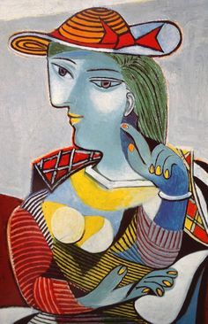 Women in hats Pablo Picasso Portrait of Marie-Thérèse – 1937 Woman seated in hat Bust of woman in hat – Bust of woman in hat – 1941 Kunst Picasso, Art Picasso, Picasso Blue, Picasso Paintings, Picasso Guernica, Georges Braque, Portrait Picasso, Portraits Cubistes, Cubist Art