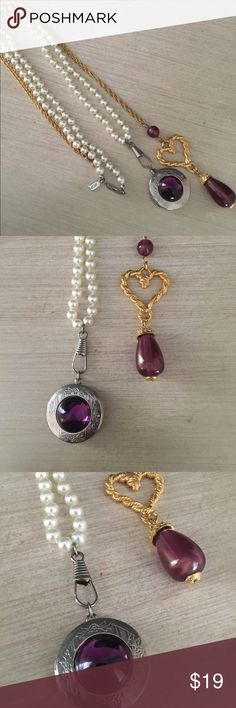 Vintage Purple Rhinestone and Pearl Necklace Two 1980s vintage pendant necklaces . One is a gold heart with a purple lucite teardrop pendant - Avon. The other is a 1928 Brand pearl chain with a purple and silver locket. Excellent Condition. Vintage Jewelry Necklaces