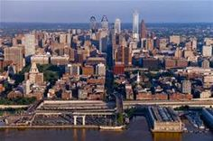Philadelphia skyline -  View from the East, Camden, New Jersey area, looking across the Delaware River.