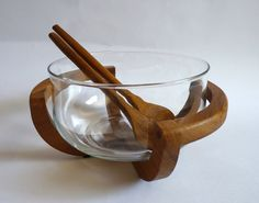 1970s Wooden Cradled Glass Salad Bowl with Wooden Servers by FoxandThomas