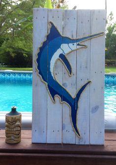 Handmade Marlin with Rope Beach Pallet Art Nautical Art Rope Art Pallet Art Coastal Decor Pallette, Deco Marine, Rope Art, Nautical Art, Sea Art, Beach Signs, Beach Crafts, Driftwood Art, Wooden Art