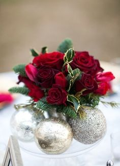 Holly, red roses, Christmas inspired centerpiece // Ware House Studios