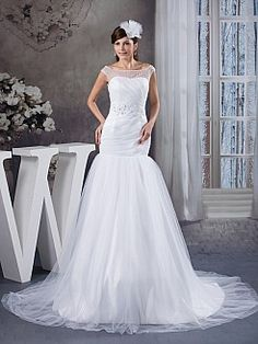 Satin and Tulle Mermaid Wedding Dress with Beading Waist - USD $269.99