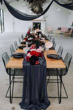 Consider this rich industrial wedding inspiration perfect eye candy for the offbeat bride. A floral printed bridal gown, modern neon sign and dried branch chandelier are a few of the creative details Black Tie Wedding, Fall Wedding, Black Wedding Decor, Trendy Wedding, Black Weddings, Perfect Wedding, Bride In Black, Crimson Wedding Ideas, Dream Wedding