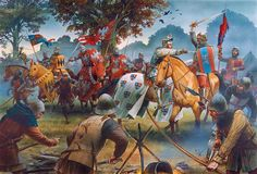 """""""An English reconnaissance unit of 50 men-at-arms and 20 mounted archers commanded by Gautier Hewit, one of the most experienced English veterans, made camp outside Oulchy-le-Château on 8 September, Peter Dennis Medieval World, Medieval Knight, Medieval Armor, Medieval Fantasy, Military Art, Military History, Valhalla, Friedrich Ii, Medieval Paintings"""