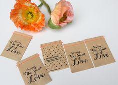 """*Sowing the Seeds of Love  die Samentüchen aus Stefanie Luxats Buch """"Einfach heiraten""""*    5 Samentütchen mit feinsten Seidenmohn-Samen   für zwei-..."""