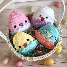 Four chubby crochet chicks in a basket - free pattern.  Make 4 different styles.  Perfect for Easter.  #freecrochetpatterns #eastercrochet
