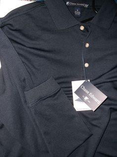 CHASE EDWARD Golf Polo Performance Shirt Stay Dry Navy Blue Size Medium LS NWOT #ChaseEdwards #ShirtsTops