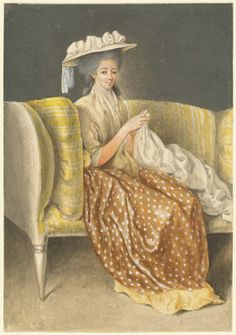 Chodowiecki, Daniel Nikolaus     German, 1726 - 1801  Portrait of a Lady Sewing     watercolor and gouache on laid paper     overall: 18.6 x 12.9 cm (7 5/16 x 5 1/16 in.)     Ailsa Mellon Bruce Fund     1988.27.1     Not on View