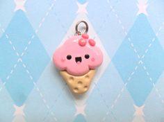 Kawaii Strawberry Ice Cream Charm Cute Polymer Clay