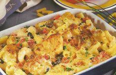 Bacalhau Gratinado com Macarrão - https://www.receitassimples.pt/bacalhau-gratinado-com-macarrao/